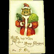 Rare Louis Wain Adorable Santa Claus / Santa Claws Christmas Postcard