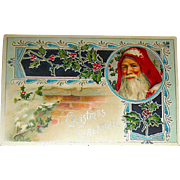 Art Nouveau Designed Santa Claus Christmas Postcard w Holly on a Brick Chimney