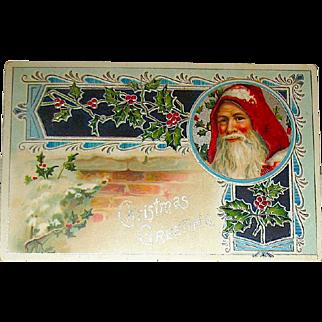 Art Nouveau Designed Santa Claus Christmas Postcard w Holly on a Brick Chimney