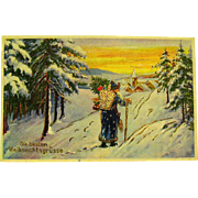 Croatian Santa Claus Christmas Postcard - Unused - Heavy Gold