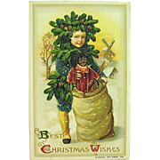 "Unused Winsch Schmucker Christmas Postcard - ""Pinecone Boy"" & Large Black Doll"