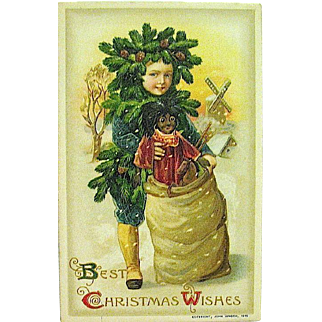"Unused Winsch Schmucker Christmas Postcard - ""Pinecone Boy"" & Large Black Doll"