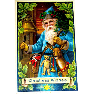 Beautiful GEL Christmas Postcard ~ Santa Claus, Blue Robe, Deer, Toys