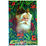 Exceptional GEL Christmas Postcard ~ Santa Claus, Burgundy Robe & Hat, Holly