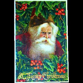 Exceptional GEL Christmas Postcard ~ Santa Claus, Burgundy Robe & Hat, Holly