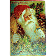 Very Scarce Unused GEL Santa Claus Postcard ~ Heavy Gold Decoration