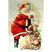 Gibson Art Co. Christmas Postcard  ~ Santa Claus Delivers Toys Through Blizzard
