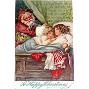 HTF Tuck & Sons OILETTE Christmas Postcard - Handsome Santa Claus, Sisters Fast Asleep