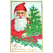 Stecher Christmas Postcard ~ Smiling Santa Claus, Candlelit Christmas Tree, Mistletoe