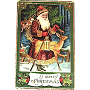German Gel Christmas Postcard ~ Santa Claus w Deer Carrying Lantern
