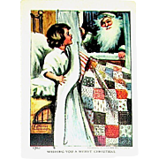 Katherine Gassaway Christmas Postcard ~ Santa in Black & Child