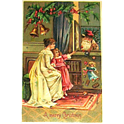 Vintage Christmas Postcard ~ Santa Claus, Mother & Daughter