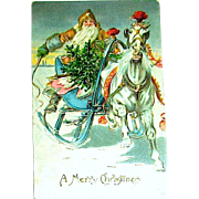 International 1907 Christmas Postcard ~ Santa Claus, Sleigh, White Horse