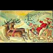 1908 Christmas Postcard ~ Santa Claus, Reindeer, Toys, Town Below