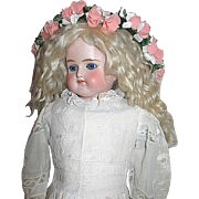 ABG Turned Shoulder Head Doll ~ Closed Mouth ~ 1860's Ayrshire Whitework Dress