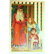 German Christmas Postcard ~ Handsome Early Santa Claus, Children Hiding