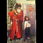 "Tuck ""OILETTE"" Christmas Postcard ~ Santa Claus & Cute Edwardian Boy"