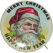 !940's Santa Claus Portrait Pinback - Perfect for Your Doll