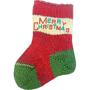 """40's Tiny """"MERRY CHRISTMAS"""" Stocking for Baby's First Christmas or Dollhouse"""
