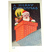 "HTF 1907 ""OLD NICK"" Series 89, Ullman Postcard ~ Santa Claus Inside Chimney"
