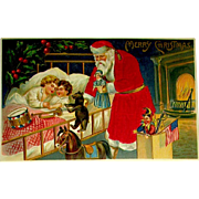 German Silk Santa Claus Postcard ~ Sleeping Children, Toys