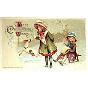 Winsch Schmucker Christmas Postcard ~ Children,  Jack Russell Terrier