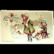 Winsch Schmucker Christmas Postcard ~ Children,  Jack Russell Terrier