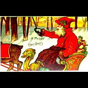 German Christmas Postcard ~ Santa Claus, Sleigh, Reindeer