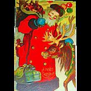 1912 Christmas Postcard ~ Unique Santa Claus, Reindeer, Tasty Treats