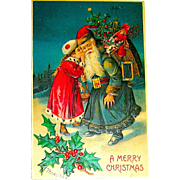 B.W. Publisher, German Christmas Postcard ~ Young Girl Whispers in Santa's Ear