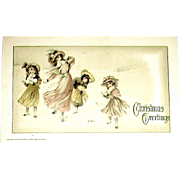 Winsch Christmas Postcard ~ Beautiful Woman & Children Playing in Snow