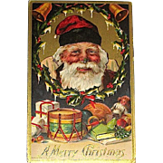 Antique German Christmas Postkarte ~ Santa Claus, Chimney Soot on Nose, Gifts