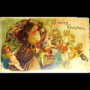 Gorgeous 1906 Santa Claus Postcard w Adorable Cherubs ~ Heavy Gold