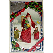 Superb Santa Claus w Children Postcard ~ Silver & Holly Decorations (1 of 2)