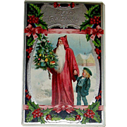 Beautiful Santa Claus Postcard w Youngster ~ Silver, Ribbons & Holly Decorations (2 of 2)