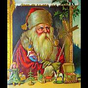 Gorgeous Santa Claus Christmas Postcard ~ Rare Graphics