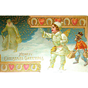 Rare German Christmas Postcard ~ Snow Angel, Chimp w Gifts, Santa Claus