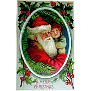 Adorable Santa Claus Holding a Toddler Christmas Postcard ~ B.W. Germany