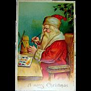 Classic German Ser. 156 Christmas Postcard ~ Santa Painting Toys