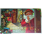 1910 Christmas Postcard ~ Santa Claus on Christmas Eve