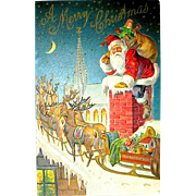 1903 Christmas Postcard ~ Santa Claus, Reindeer, Sledge ~ Near Mint