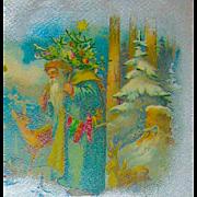 Beautiful Christmas Postcard ~ Santa in Blue Robe, Snowy Forest, Deer, Rabbits
