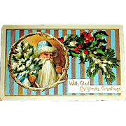 German 1912 Christmas Postcard ~ Early Santa Claus, Blue & Gold Stripes