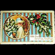 German 1912 Christmas Postcard ~ Early Santa Claus, Blue & Gold Stripes