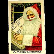 German GEL Postcard ~ Santa Claus, Good & Bad Children Book