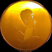 Gorgeous Vintage Powder Compact ~ Art Deco Lady w Long Neck