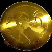Rare Art Deco Powder Compact ~ Leaping Gazelles Design ~ Majestic