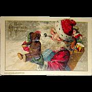 Antique Winsch Schmucker Santa Claus Postcard ~ Teddy Bear, Toys