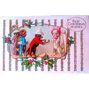 Dressed Boy Dogs Court Maltese Girl Dog, German Christmas Postcard