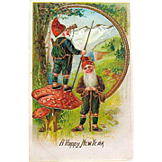 Gorgeous Antique New Year's Postcard ~ Heavy Gold ~ Gnomes ~ PRISTINE